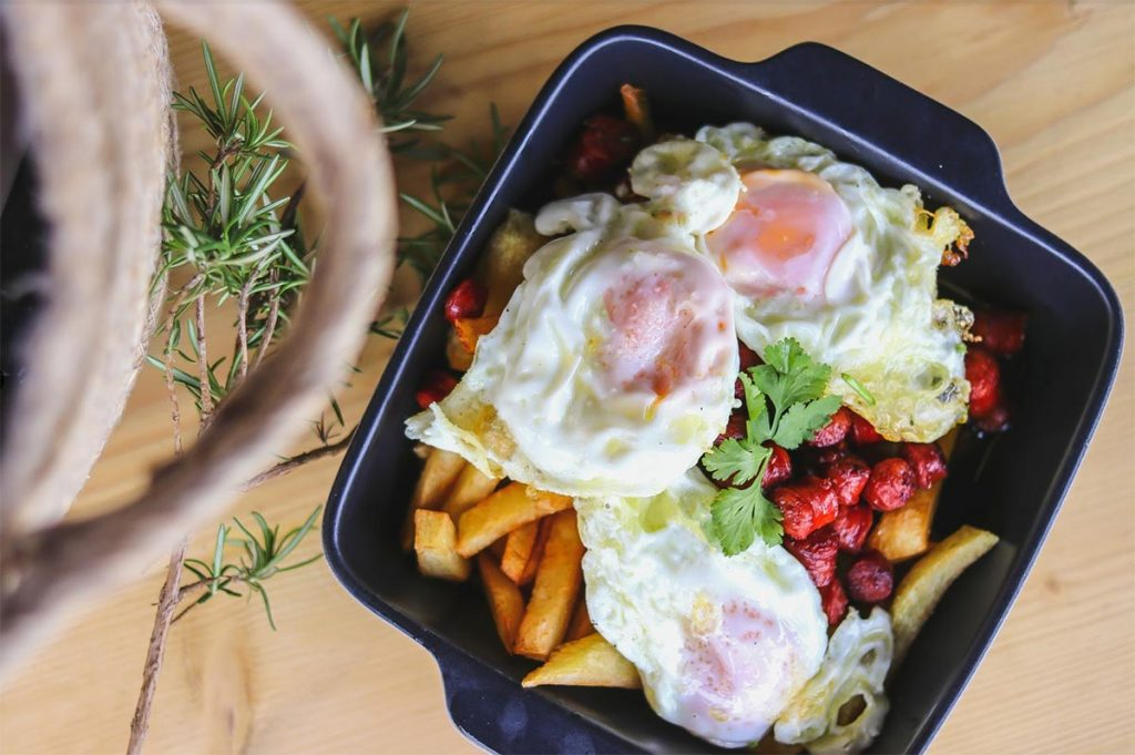 Fried eggs with chips & Spanish sausage